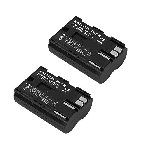 2 Pack Masione 7.4V 1400mAh Canon BP-511 Replacement Battery for Canon BP-508 BP-511 BP-511A BP-512, Canon KISS DIGITAL EOS-10D EOS-20D EOS-300D EOS-D30 by Masione