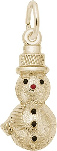 Rembrandt Black & Red Enamel Snowman Charm - Metal - 14K Yellow Gold