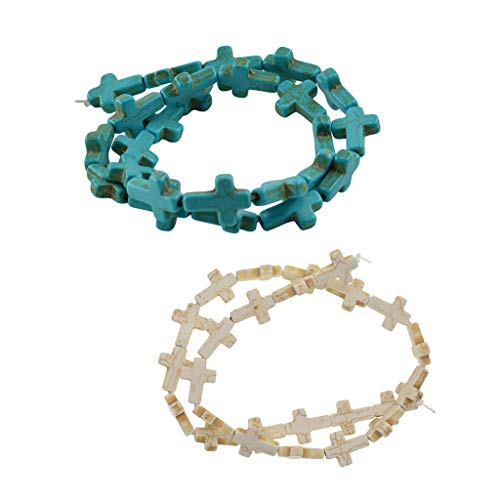 (Prettyia 2 Strands Turquoise Carved Cross Charms Bead Gemstone Howlite Jewelry Supply - White Blue )