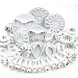 Mychampion Set of 33 utensils for cake decorating / cutters with Push / buffers flowers, leaves and various forms