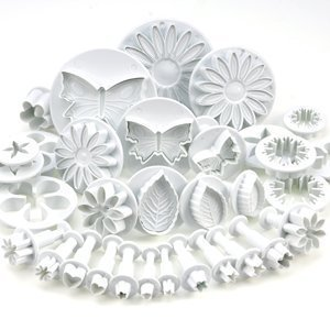 GYBest Best 10 Sets (33 Pcs) Cake Tools Plunger Cutters Sugarcraft Cake Decorating (Heart, Veined Butterfly, Star, Daisy, Veined Rose Leaf ,Carnation, Blossom, Flower, Sunflower , - Cutter Plunger Star