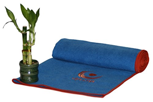 Drishti Warrior Yoga and Sport Towel (Blue) - Soft, Absorbent, Non-Slip Bikram / Hot Yoga Towel - Microfiber with Textured Weave