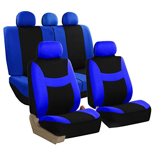 Acura Blue Cover - FH Group FB030BLUEBLACK115 full seat cover (Side Airbag Compatible with Split Bench Blue/Black)