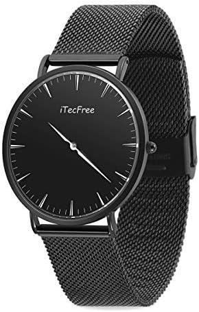 iTecFree Reloj de Pulsera, Reloj de Cuarzo Hombre Cuarzo Japonés Elegante Casuales Clásicos de Acero Inoxidable Impermeables Reloj Analogico para Hombre