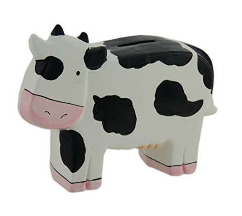 Zeckos Ceramic Toy Banks Whimsical Black And White Ceramic Cow Kids Money Bank 7.5 X 5.5 X 2.5 Inches White ()
