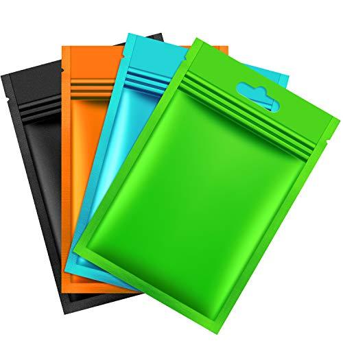 Hestya 200 Pieces Mylar Zip Lock Bags Aluminum Foil Bags, Flat Metallic Mylar Foil Flat ZipLock Food Storage Bags Pouch (Multicolor)