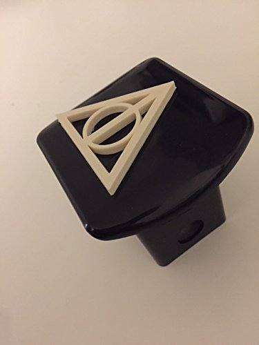 Deathly Triangle in 3d - 2 inch Trailer Hitch Cover Black with White - Trailer 3d Harry Potter