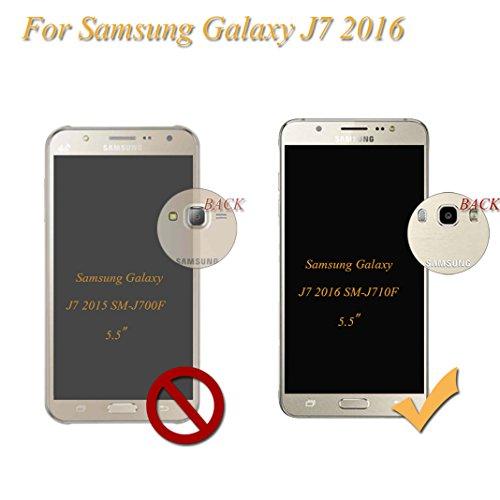 Funda Samsung Galaxy J7 2016 SM-J710F OuDu Carcasa de Billetera Casco Patrón de Gofrado Caja Elegante Flor&Mariposa Funda PU Cuero Carcasa Suave Protectora con Correas de Teléfono Funda Arbol Flip Wal Caqui