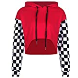 Perfashion Women's Cropped Hoodie Plaid Long Sleeve Patchwork Loose Crop Tops Soft Shirts, Red, Small