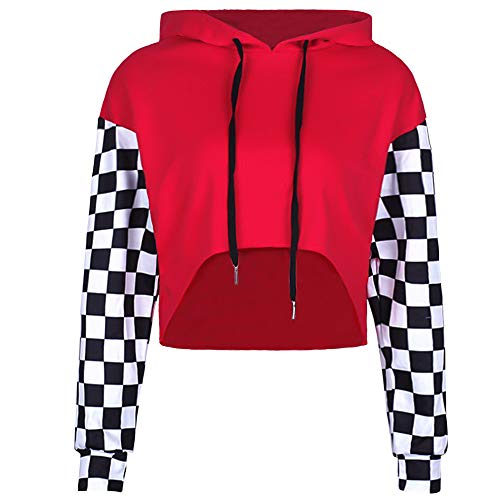 - Perfashion Women's Cropped Hoodie Plaid Long Sleeve Patchwork Loose Crop Tops Soft Shirts, Red, Small