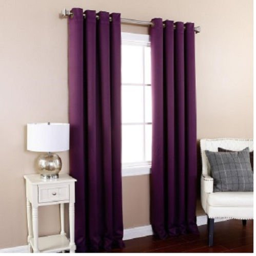 Gorgeous Home (#32) 1 PANEL SOLID PLUM PURPLE THERMAL FOAM LINED BLACKOUT HEAVY THICK WINDOW TREATMENT CURTAIN DRAPES SILVER GROMMETS * AVAILABLE IN DIFFERENT SIZES * (63″ LENGTH)