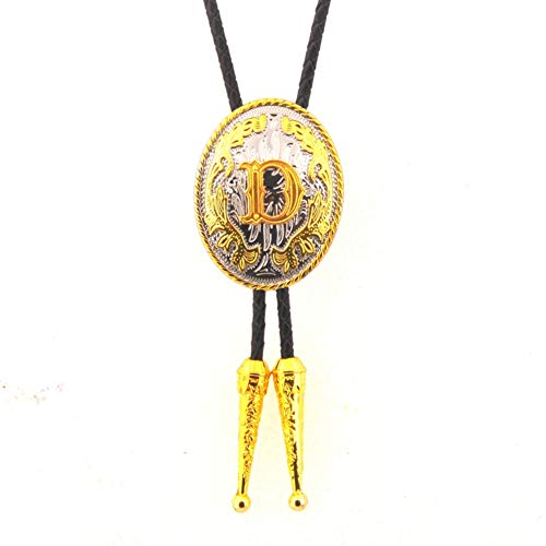 KeCol Mens Native American Aalphabet Letter Bolo Tie Necktie Necklace Gold Silver Letter D