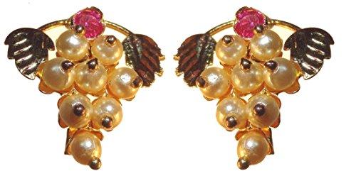 Love gold Big Girls' Gold-Plated Cream Yellow Simulated Kudi Hhos Grapes Shape Pearls Earring Traditional Maharashtrian