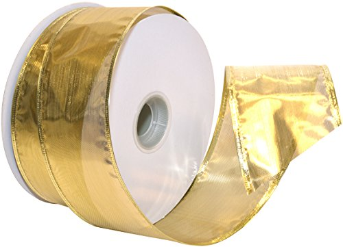 Morex Ribbon Gleam Wired Metallic Sheer Ribbon, 2.5-in x 50-Yd, Gold