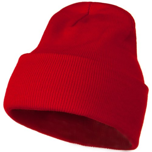 Beanie Kids Red (12 Inch Long Knitted Beanie - Red OSFM)