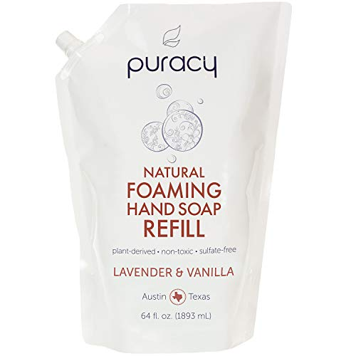- Puracy Natural Foaming Hand Soap Refill, Sulfate-Free Hand Wash, Lavender & Vanilla, 64 Ounce