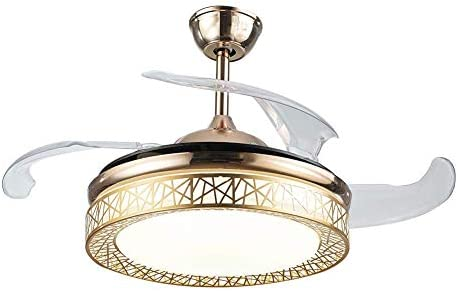 Modern Fan Ceiling Light with Remote Control Three-Color Dimmable Bedroom Fan Chandelier Blade Retractable Mute Indoor Fan Light 42 Inch Gold
