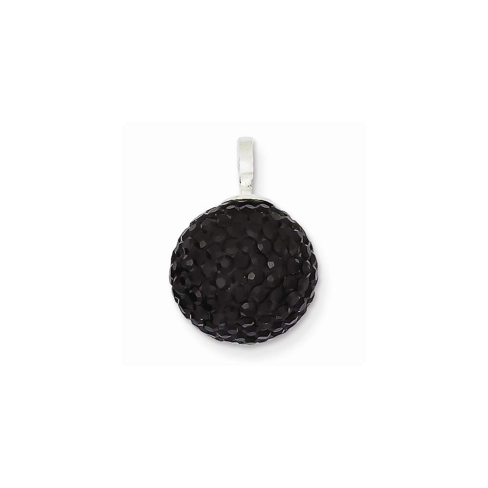 925 Sterling Silver Stellux Crystal 12mm Black Ball Pendant