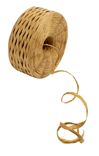 Raffia Ribbon - Paper Ribbon, Natural Raffia Twine String Ribbon for Craft, Packing, Wrapping Gifts, Tan, 325-Yard