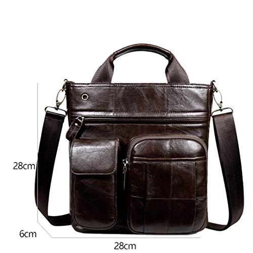(Mens Handbag Shoulder Bag Genuine Leather Satchel Bag Crossbody Bag Business Briefcase Coffee 28cm X 28cm X)