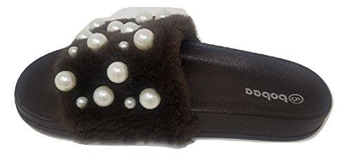 7ec6f715119 Women s Embellished Pearl Faux Fur Fuzzy Furry Platform Wedge Slide Sandals  Slippers