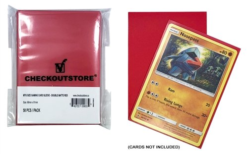 CheckOutStore 10,000 Double Matte Red Protective Sleeves for Trading Cards (66 x 91 mm)