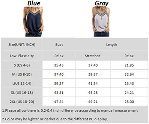 BLENCOT Women's V Neck Strappy Embroidery Tank Tops Loose Casual Sleeveless Shirts Blouses