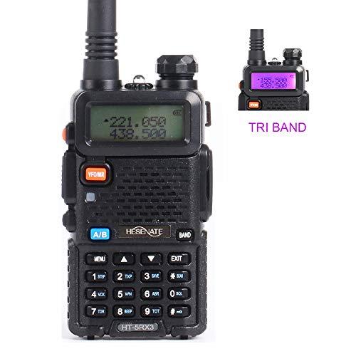 (HESENATE HT-5RX3 Tri-Band Handheld Transceiver 136-174MHz/ 220-260MHz/400-520MHz Two Way Radio Walkie Talkie (HAM))