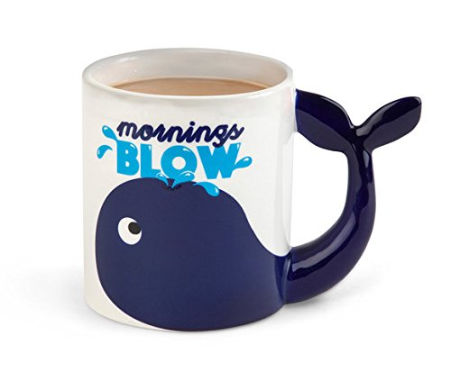 BigMouth Inc Mornings Blow Coffee Mug, Novelty Whale Coffee Cup, Holds 20 Oz, Fun Kitchen -