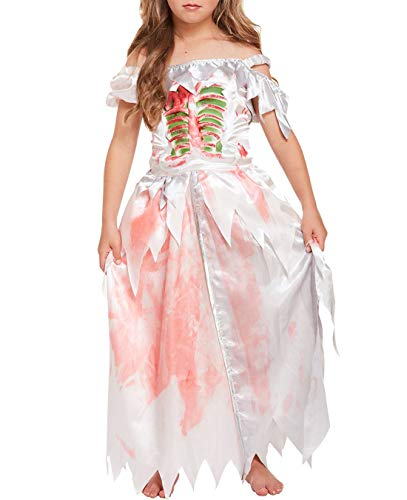 MA ONLINE Kids Girls Children Fancy Halloween Party Wear Zombie Daughter Costume Outfit Dress 4-6 Years -
