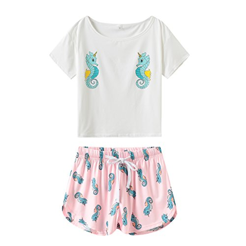 (MyFav Women's Short Sleeve Soft Sleepwear Cute Seahorse Banana Print Tee and Shorts Pajamas XS-XL )