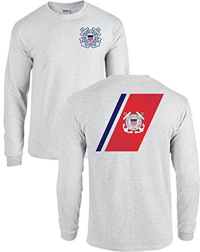USCG US Coast Guard Racing Stripe Front & Back Ash Grey Long Sleeve Shirt USA (Ash Grey, Small)