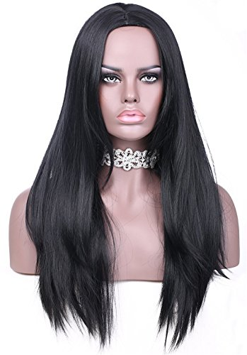 "VIMIKID 30"" 75cm Long Black Straight Wig Middle Parting Heat Resistant Synthetic Full Hair Party Cosplay Costume Wig"