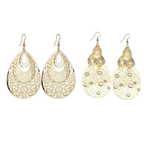2 Pairs Women's Gold Silver Tone Carved Flower Dangle Chandelier Earrings Filigree Tiered Hollow Teardrop Earrings for Party Jewelry-gold