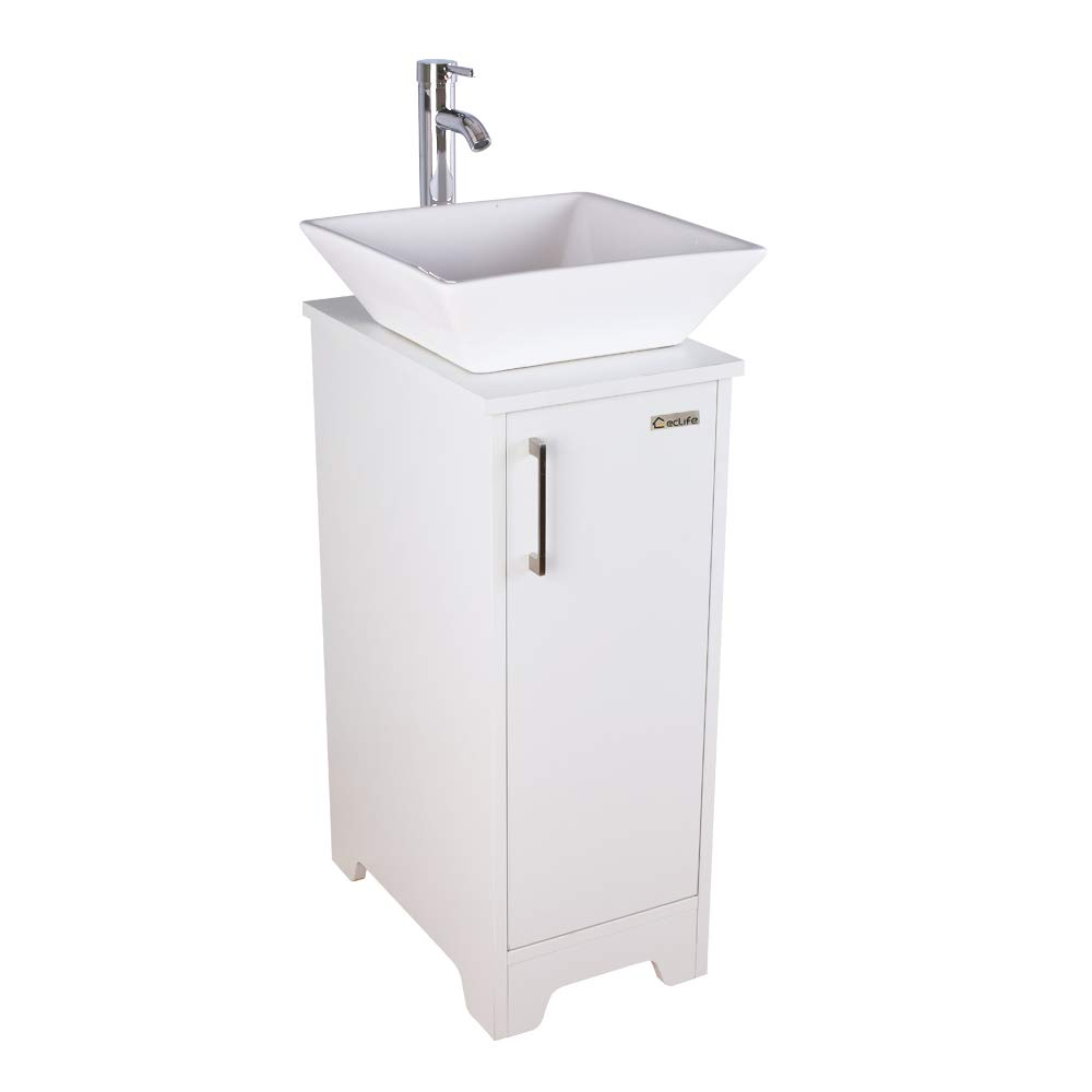 Eclife 14 Bathroom Vanity And Sink Combo White Small Vanity Ceramic