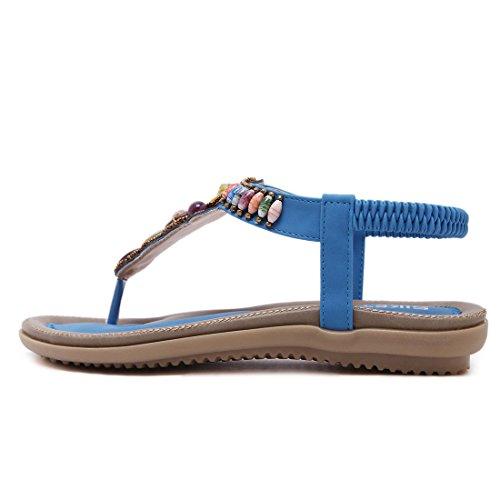YIBLBOX Womens T-Strap Rhinestone Low Wedges Sandals Summer Casual Beach Flats Slip on Shoes Flip Flops Blue 04 6aMbBAQ