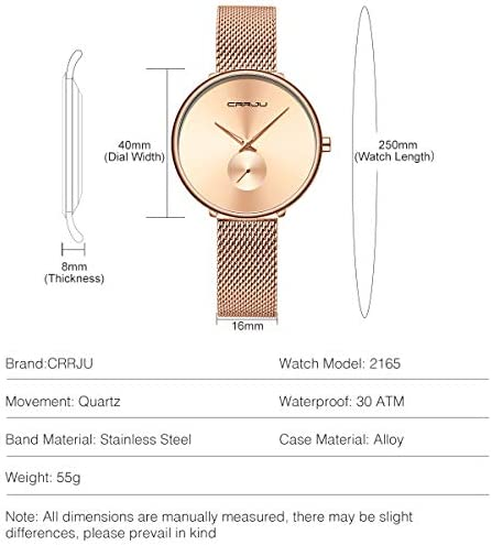Affute Fashion Minimalist Women s Watches Stainless Steel Mesh Watch, Ultra Thin Waterproof Quartz Analog Wristwatch for Ladies