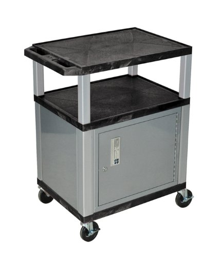 Luxor WT34C4E-N/WTD - 34 in AV Utility Cart with 3 Shelves and Cabinet, Drawer -Nickel Leg ()
