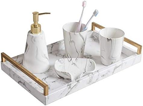FXin バスルームセット、ライトラグジュアリーマーブルセラミック素材ノルディックスタイルマグ歯ブラシホルダー5ピースセットトレイ付きハンドル、2色 シャワー室 (Color : Gold)