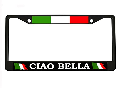 (CIAO BELLA black Metal Auto License Plate Frame Car Tag Holder with car banner flag hanger)