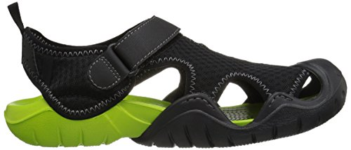 Crocs Mænds Swiftwater Mesh Sandal Sort / Volt Grøn YFbXDrZqek