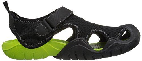 Crocs Swiftwater M Blk/Vgrn, Sandali Alla Schiava Uomo Nero (Black/Volt Green)