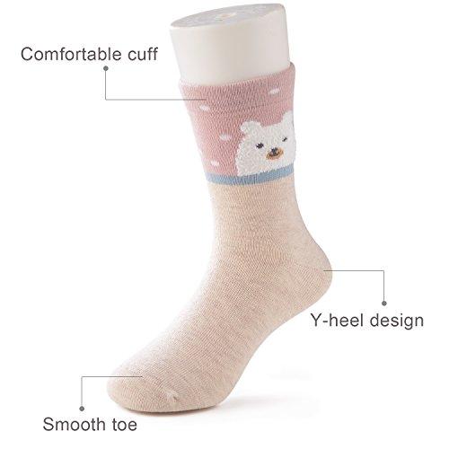SUNBVE Toddler Little Girls Bears Fun Cotton Ankle Socks 5 Pack by SUNBVE (Image #6)