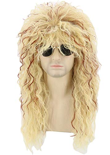 Toposplay 80s Wig Men Women Rocker Wig Mullet Halloween Costume Wig Blonde Curly Shaggy -
