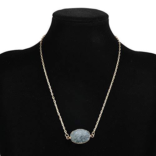 Mikash Imitation Druzy Quartz Clusters Geode Stone Gem Healing Reiki Pendant Necklace | Model NCKLCS - 42034 | -