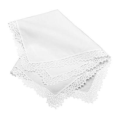 Milesky Bridal Wedding Crochet Lace Handkerchief Premium 60S Cotton