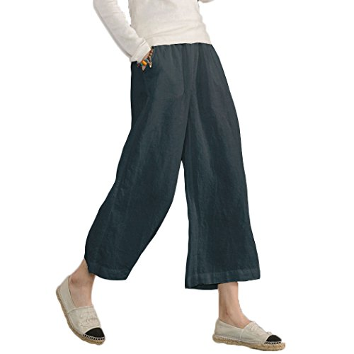 Ecupper Women's Elastic Waist Causal Loose Trousers Plus 100 Linen Cropped Wide Leg Pants Dark Blue 16-18 from Ecupper