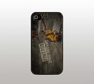 Kobe Bryant Los Angeles Lakers - Case for Apple iPhone 4 4s - Black Plastic - Custom Basketball Covers - Vintage Design