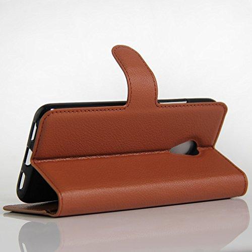 OFU® Para Meizu M3 Note Funda,Dual Layer PC And TPU Hybrid Card Carry Pocket Wallet Slot,Cartera Cuero Funda de Piel Wallet Case para Meizu M3 Note Carcasa Flip Case Cover con Función Soporte(marrón)