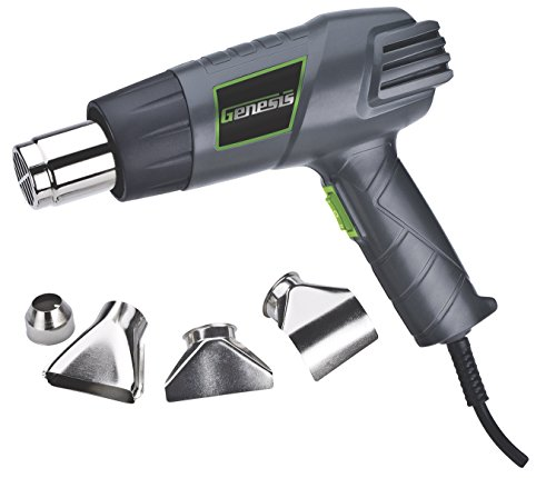 Genesis GHG1500A Dual Temperature Heat Gun Kit with Four Metal Nozzle Attachments Air Assist Kit